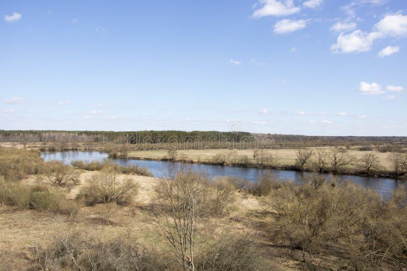 Lit de la rivière contre le ciel bleu image libre de droits