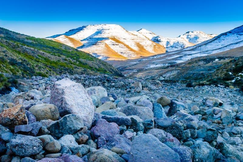 Lit de la rivière du Lesotho photographie stock libre de droits