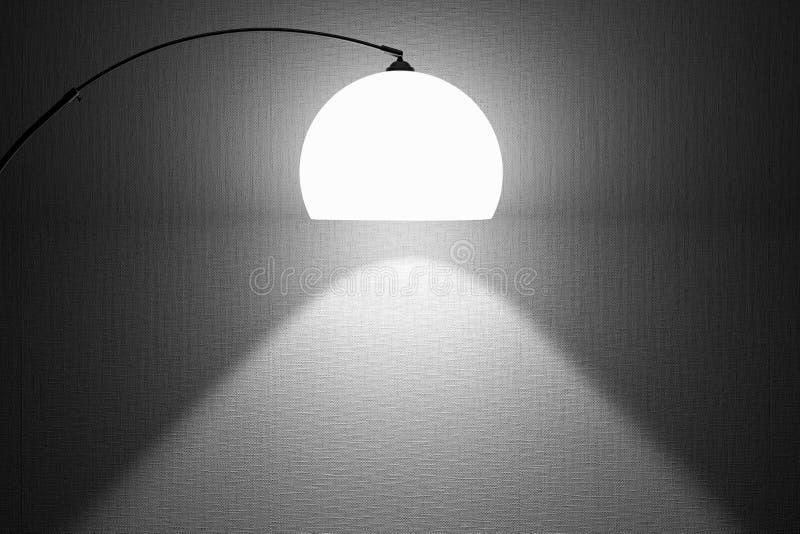 Lit de lamp in de ruimte stock afbeelding