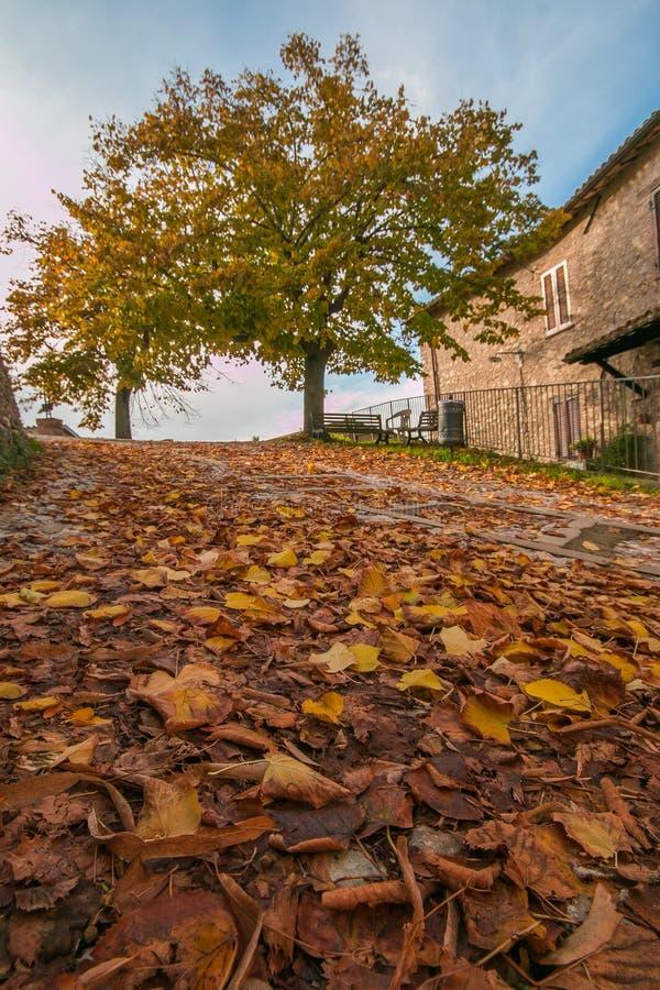 Lit de lave rouge dans le centre historique de Campello Alto en automne, Ombrie, Italie photos libres de droits
