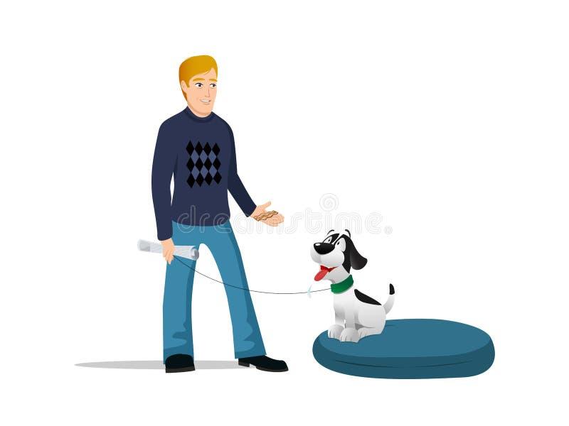 Lit de propriétaire de chien illustration libre de droits