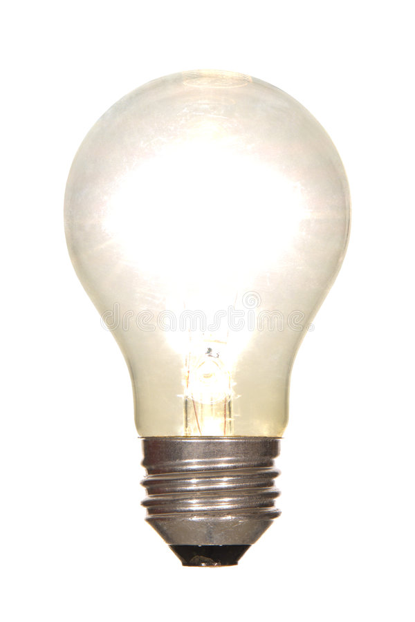 Lit Electric Light Bulb Glowing Bright Isolated royalty free stock image