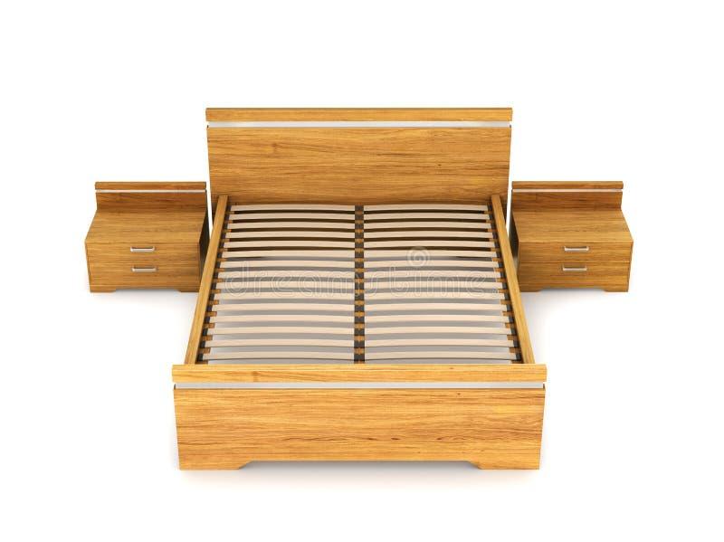 Lit en bois avec des tables de chevet de chaque côté photographie stock