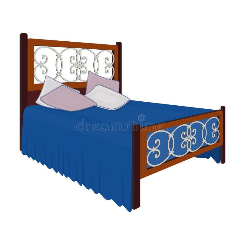 Lit en bois pour l'adolescent avec le graffiti sur le dos Lit avec des toiles bleues Enfoncez l'icône simple dans le symbole de v illustration stock