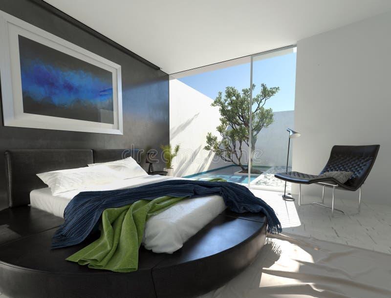 Lit en cuir de luxe dans une chambre à coucher moderne illustration libre de droits