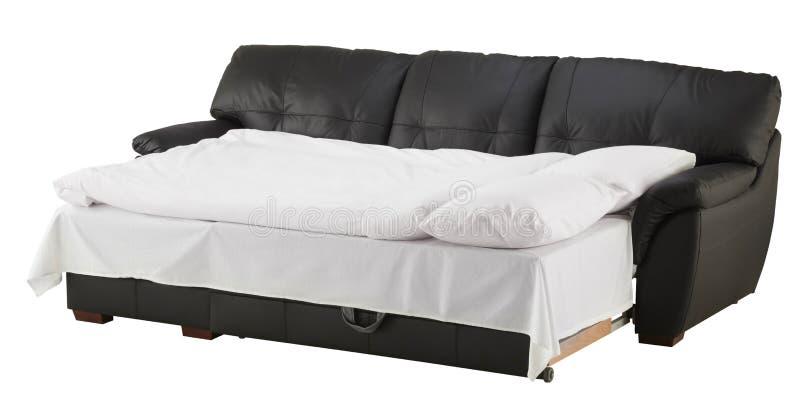 Lit faisant le coin en cuir brun noir de divan d'isolement sur le blanc image stock
