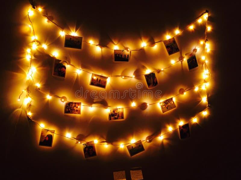 Lit Hanging Photo Frames royalty free stock image