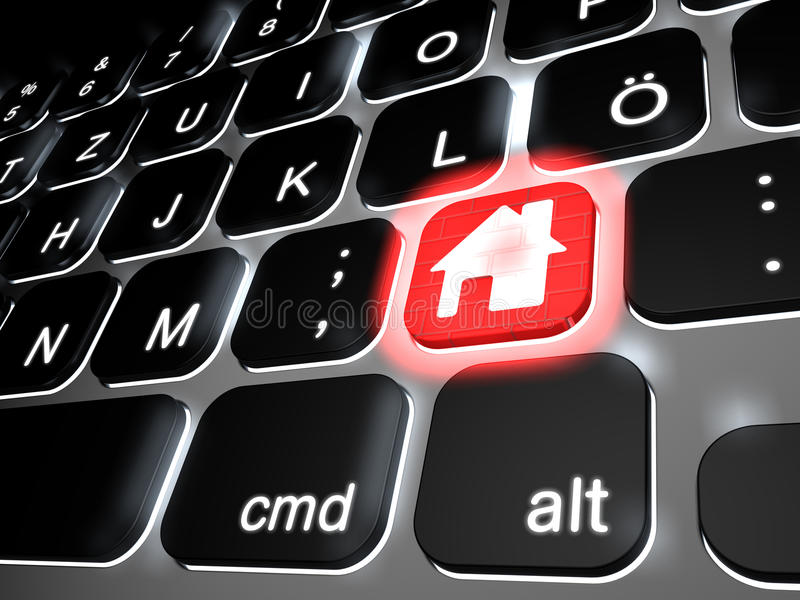 Lit keyboard with special red home key. 3d rendering royalty free illustration