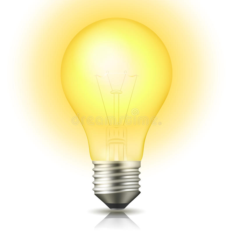 Lit Light Bulb stock illustration