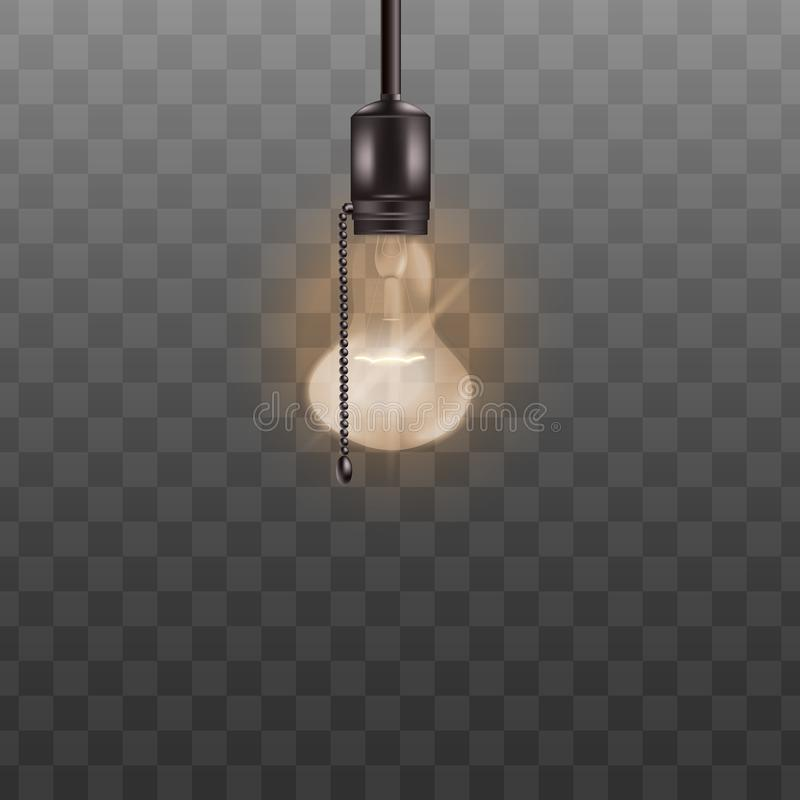 Free Lit Light Bulb Ceiling Lamp With Switch Rope Isolated On Transparent Background. Royalty Free Stock Images - 149890469