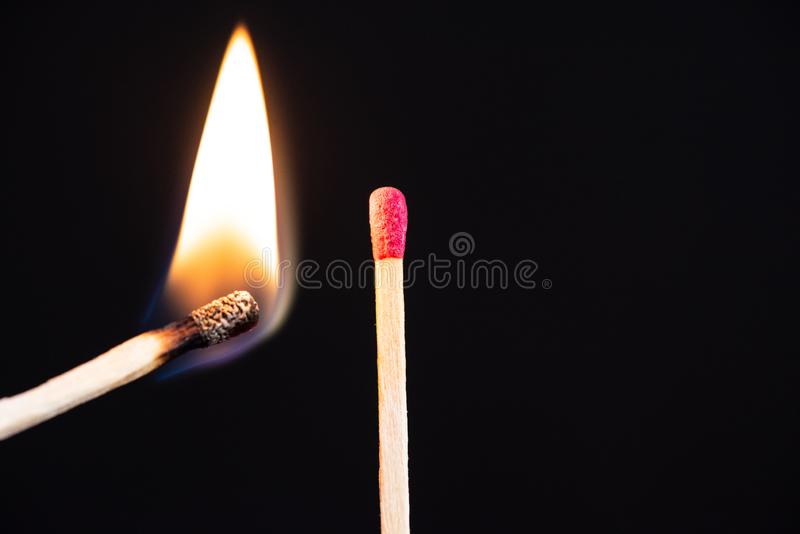 Lit match next to a row of unlit matches. The Passion of One Ignites New Ideas, Change in Others royalty free stock photos
