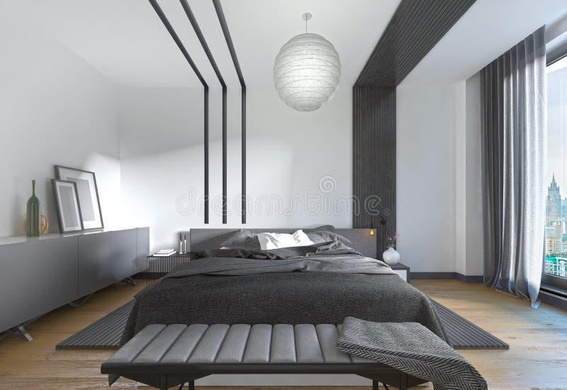 download lit moderne dans la chambre coucher le style contemporain illustration stock image - Chambre A Coucher Style Contemporain