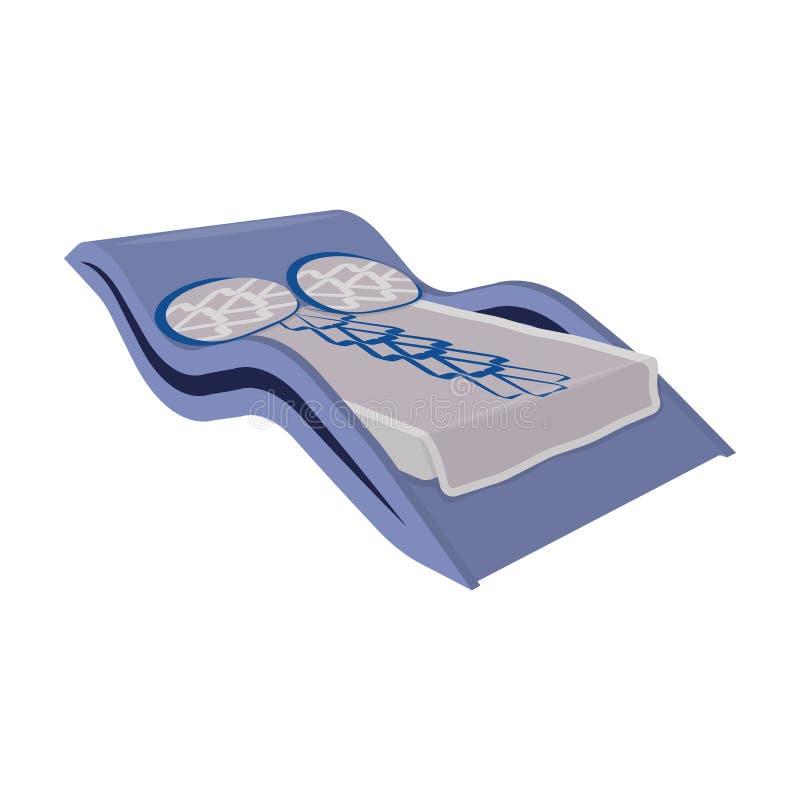 Lit onduleux bleu Lit médical pour le traitement de l'épine Enfoncez l'icône simple en stock de symbole de vecteur de style de ba illustration libre de droits