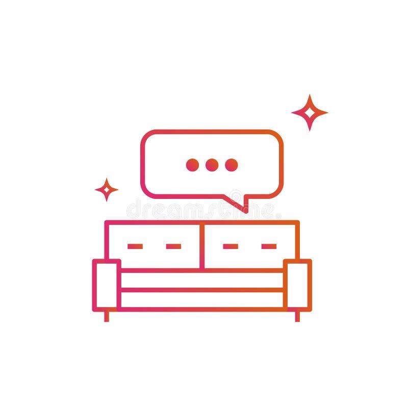 Lit ou sofa Bulle de la parole graphisme Ligne illustration de gradient de vecteur d'isolement sur le fond blanc illustration de vecteur