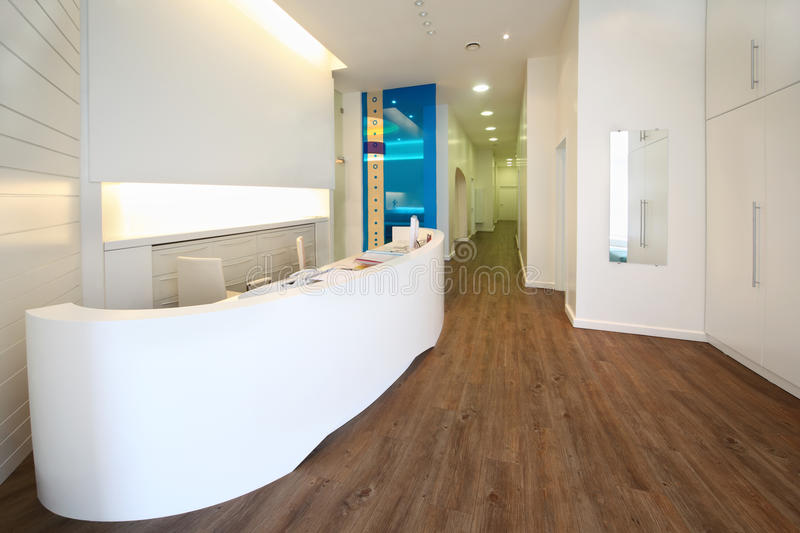 Lit reception area in dental clinic. royalty free stock photo
