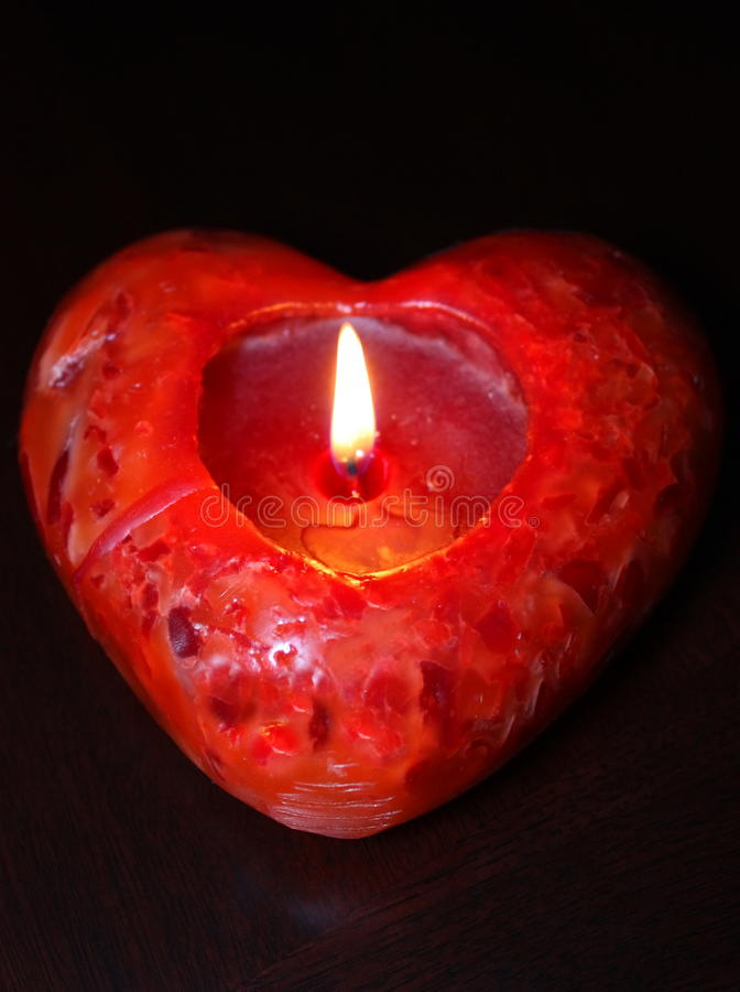 Free Lit Red Heart Candle, Dark Background Royalty Free Stock Image - 12285796