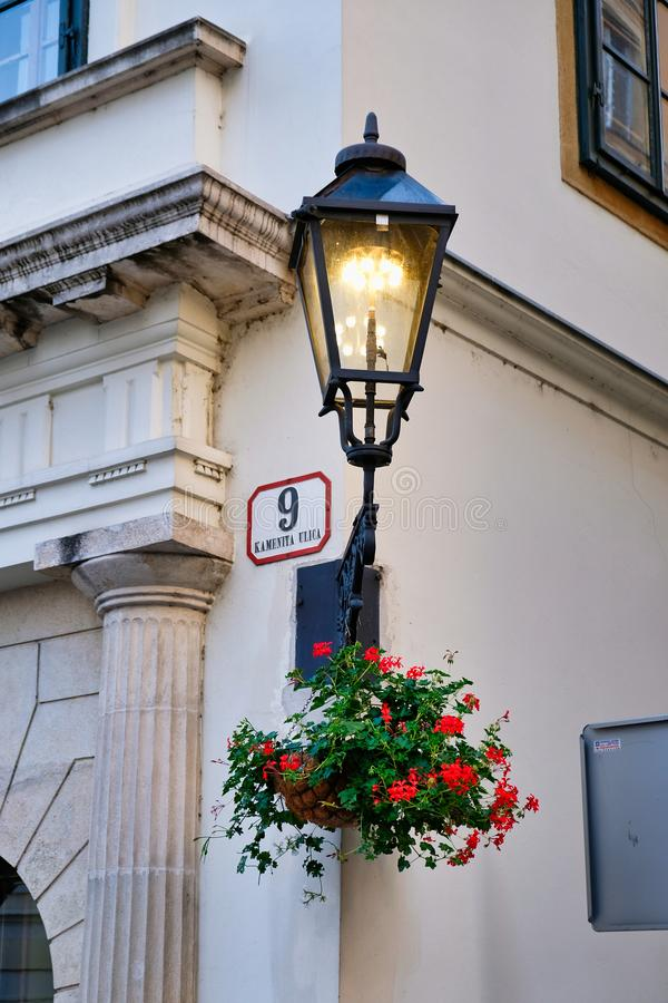 Lit Street Light, Zagreb, Croatia. A lit street light or lamp in the centre of historic Zagreb City, Croatia stock photography