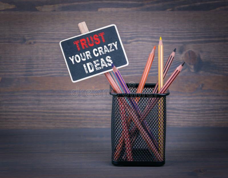 Lita på dina galna idéer En liten svart tavlakrita och en färgad blyertspenna på wood bakgrund royaltyfri fotografi