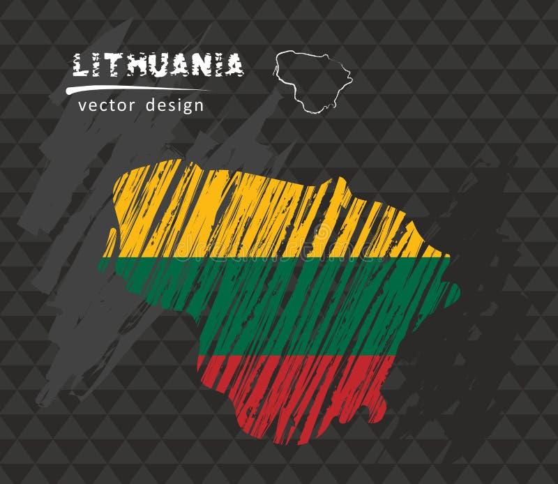 Litauen översikt med flaggan inom på svart tavla Krita skissar vektorillustrationen royaltyfri illustrationer