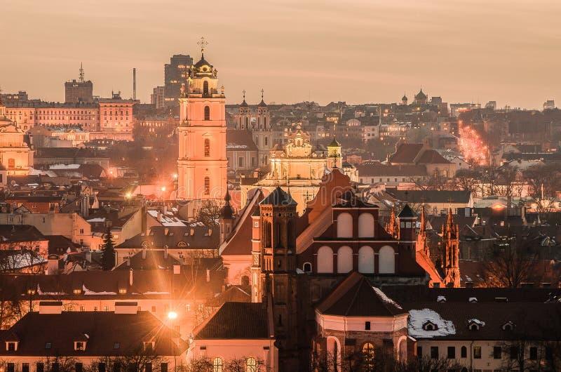 Litauen. Alte Stadt Vilnius am Abend. lizenzfreies stockfoto