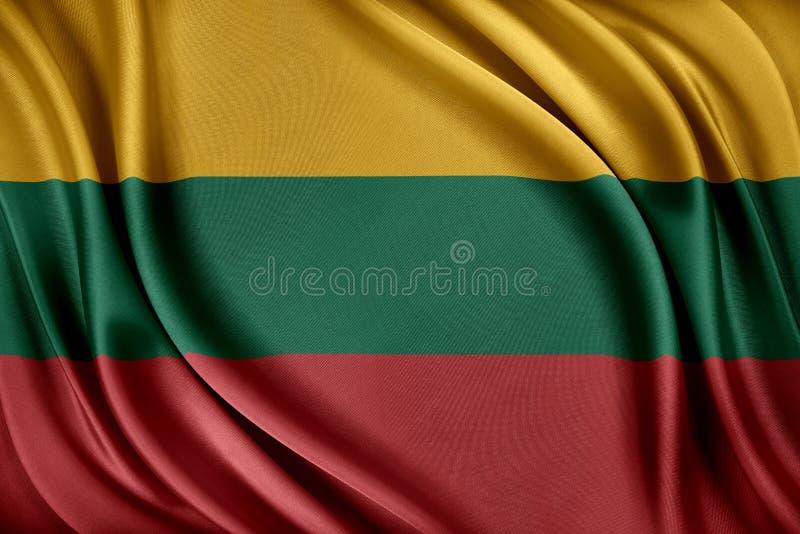 Litauen flagga Flagga med en glansig siden- textur stock illustrationer