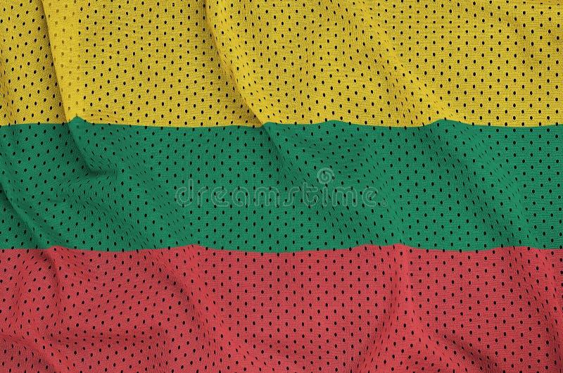 Litauen flagga som skrivs ut på en fabr för ingrepp för polyesternylonsportswear royaltyfri fotografi