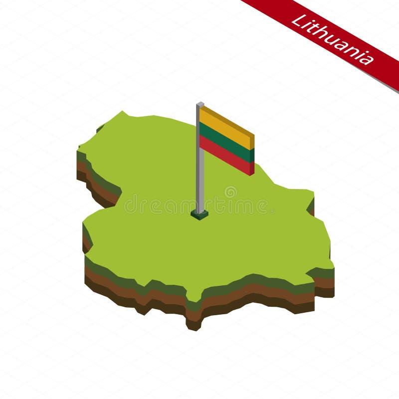 Litauen isometrisk översikt och flagga också vektor för coreldrawillustration royaltyfri illustrationer