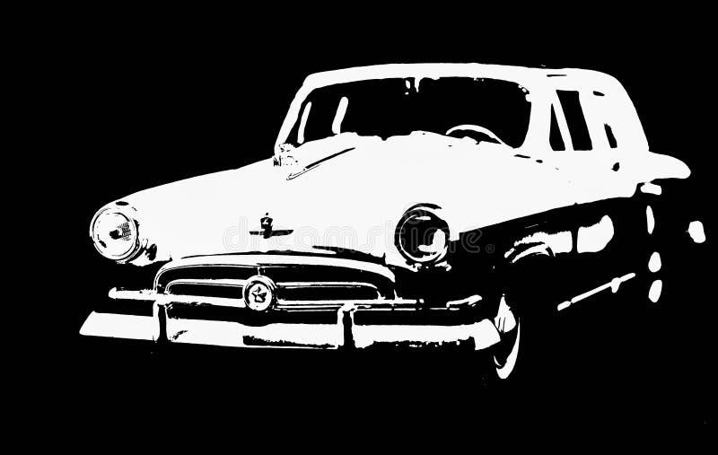 Litauen Vilnius, den sovjetiska bilmodellen isoated på svart bakgrund GAZ 21 Volga arkivbilder