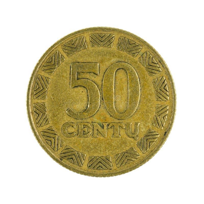 50 Litauer centu Münze 1997 lokalisiert auf weißem Hintergrund lizenzfreies stockbild