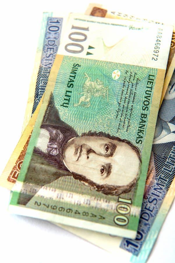 Litauische Geld litas stockbild