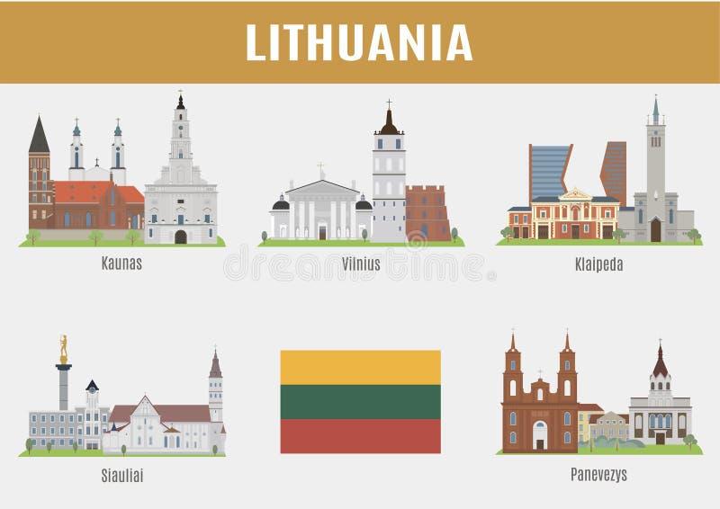 Litauiska städer för berömda ställen vektor illustrationer