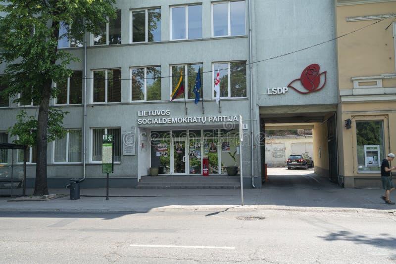 Litauiskt socialt demokratiska partiet i Vilnius royaltyfri fotografi