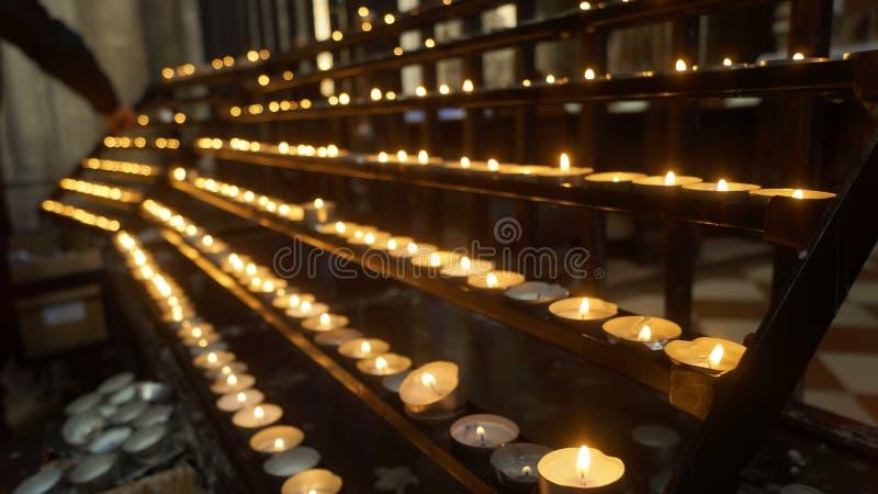 Litbönstearinljus royaltyfria bilder