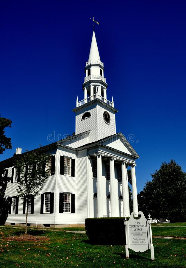 Litchfield, CT: 1829 First Congregational Church. Litchfield, Connecticut - September 15, 2014: 1829 First Congregational Church built in the Greek Revival style stock image