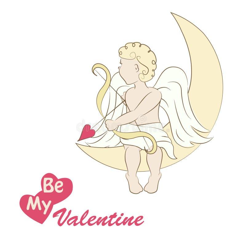 Lite ängel eller cupid stock illustrationer