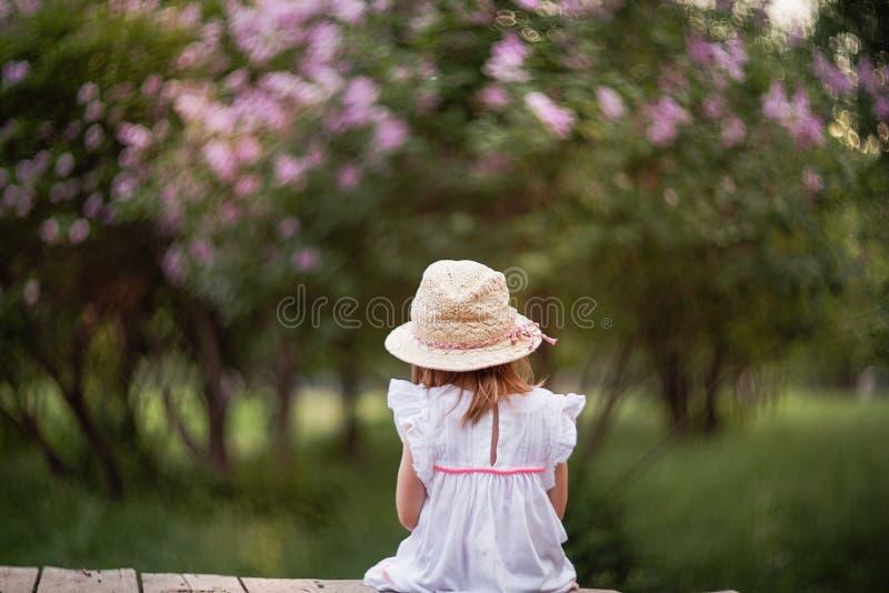 Lite är flickan sitta och se en lila buske arkivfoton
