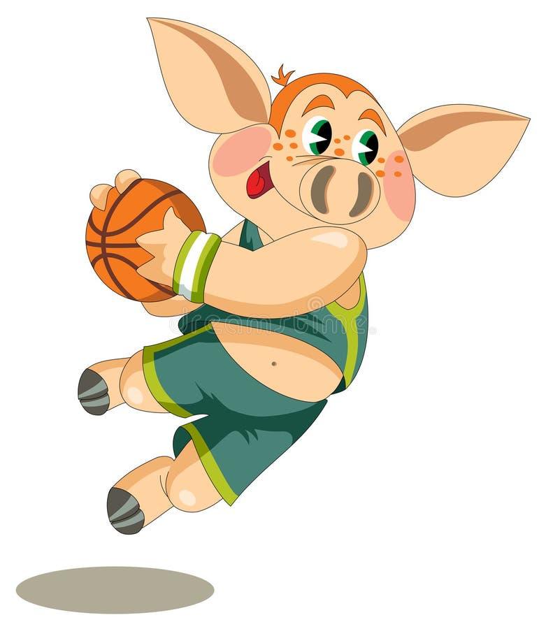 Lite är spädgrisen basketspelaren royaltyfri illustrationer