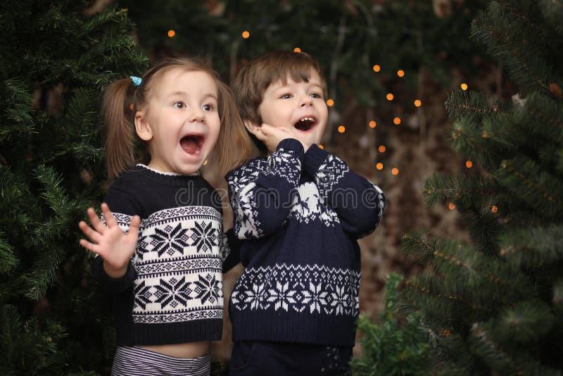 Lite barn vid trädet för nytt år Barn dekorerar Chrisen royaltyfria foton