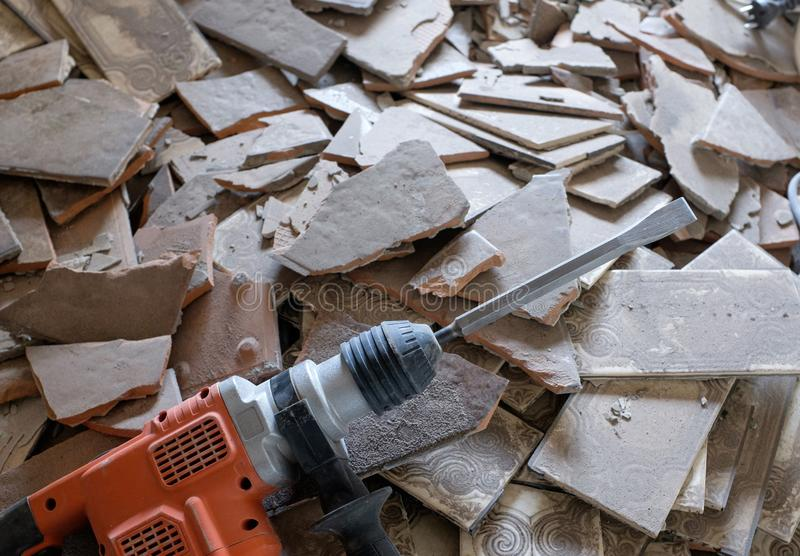 Demolition work with a demolition hammer royalty free stock photos
