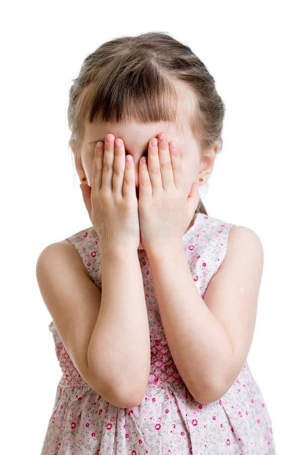 Lite förskräckt eller gråt eller spela framsidan för Bo-pip ungenederlag arkivbild