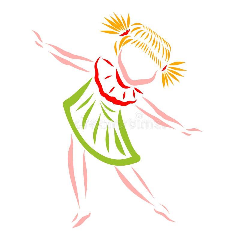 Lite flicka som är dansa eller göra övningar vektor illustrationer