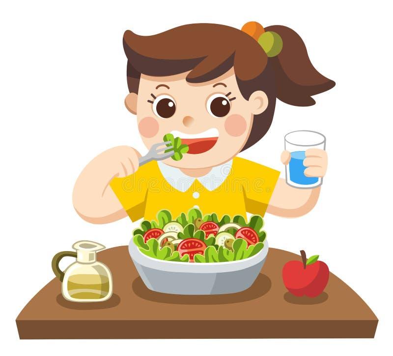 Lite flicka som är lycklig att äta sallad hon älskar grönsaker royaltyfri illustrationer