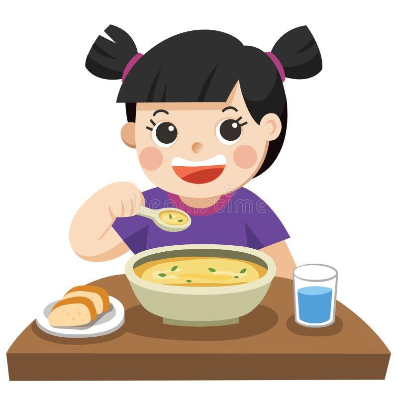 Lite flicka som är lycklig att äta soppa vektor illustrationer