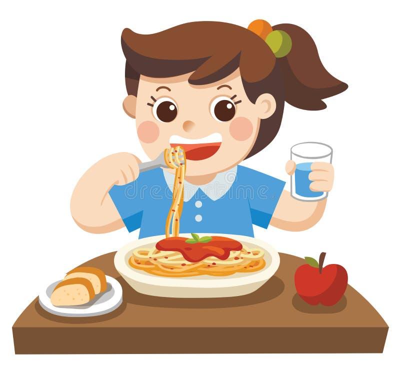 Lite flicka som är lycklig att äta spagetti stock illustrationer