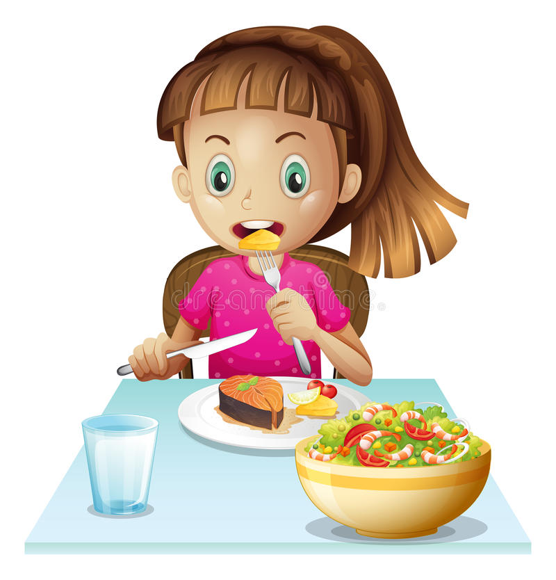 Lite flicka som äter lunch vektor illustrationer