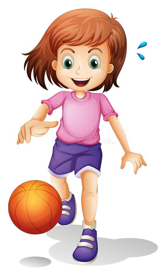 Lite flicka som spelar basket stock illustrationer
