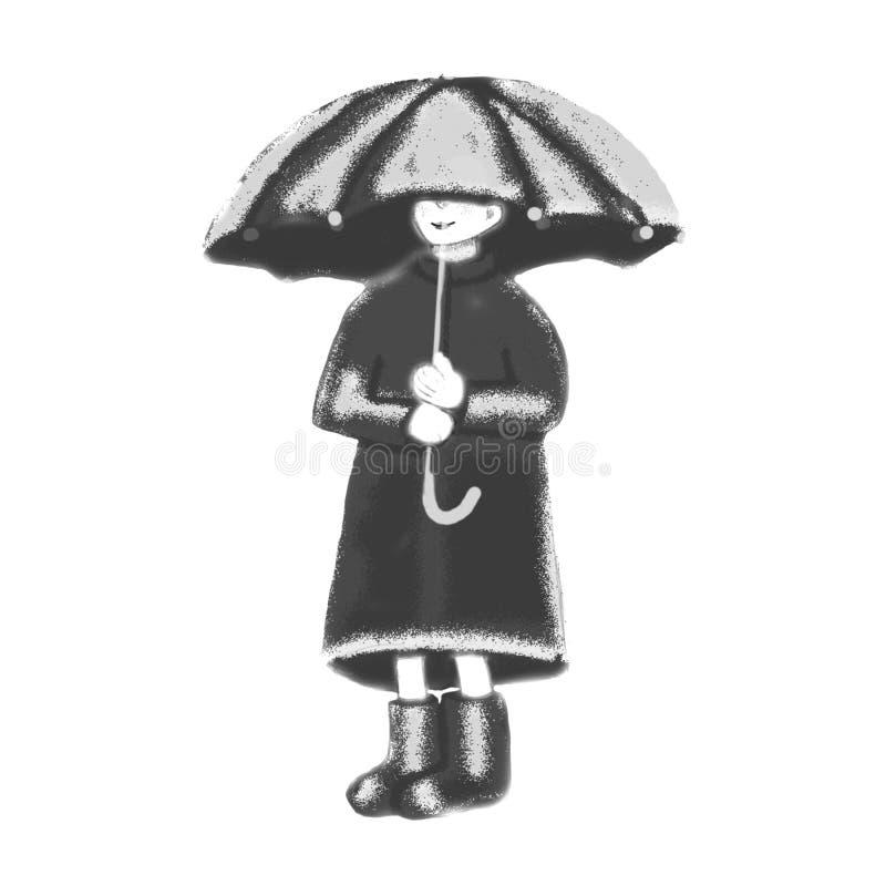 Lite flicka under paraplyet royaltyfri illustrationer