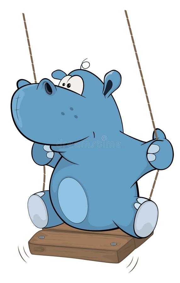 Lite flodhäst cartoon stock illustrationer