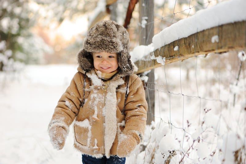 Lite hsmiling pojke, i att snöa vinter royaltyfri fotografi