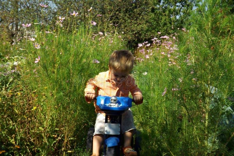 Lite lär pojken att rida en cykel royaltyfria foton